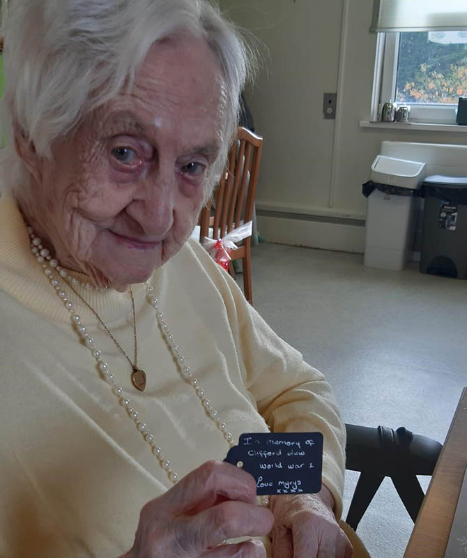Ty Iscoed resident Myra with a Remembrance Day message