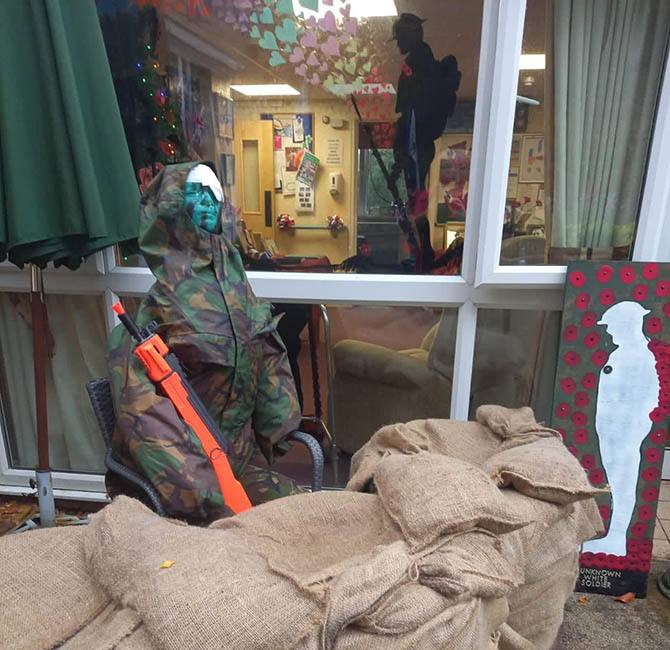 A model depicting a soldier in the trenches has been created at Ty Iscoed residential home in Newbridge