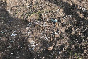 Land near Gelligaer has been contaminated with plastic