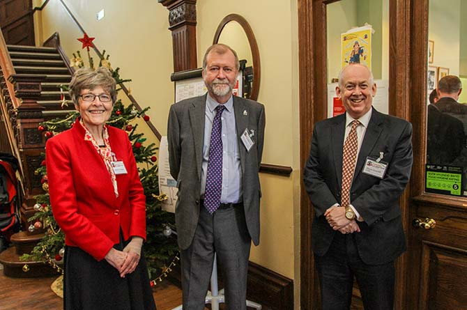 Katherine Hughes, left, with Gwent Police and Crime Commissioner Jeff Cuthbert, centre, and Caerphilly MP Wayne David, awaiting the visit of Prince Charles to the centre in 2017