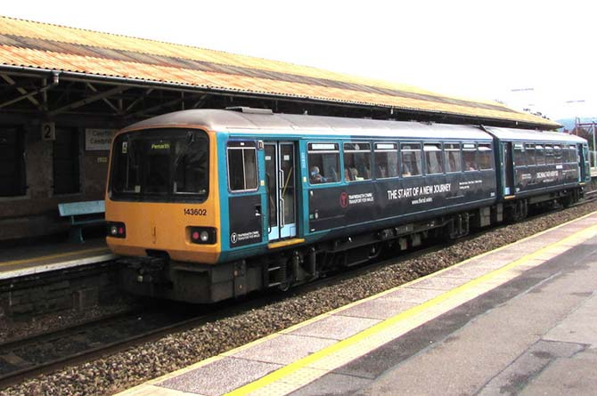 A Class 143 pacer train at Caerphilly railway station