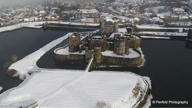 Caerphilly Castle underneath a blanket of snow
