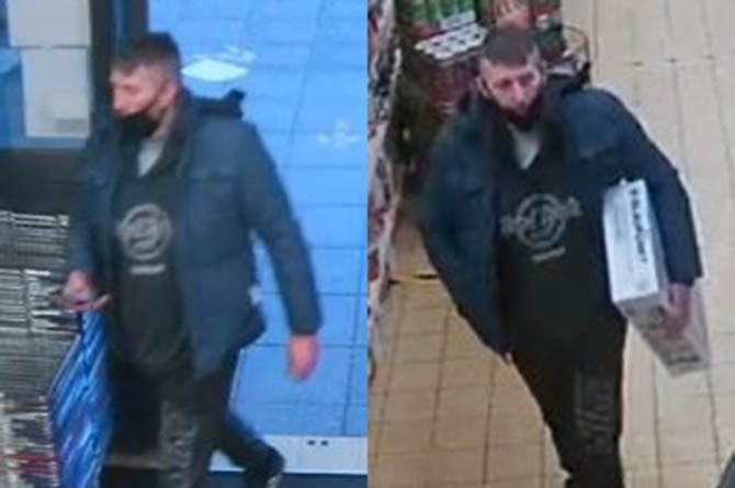 Police would like to speak with this man , pictured on CCTV, about a theft at B&M Bargains