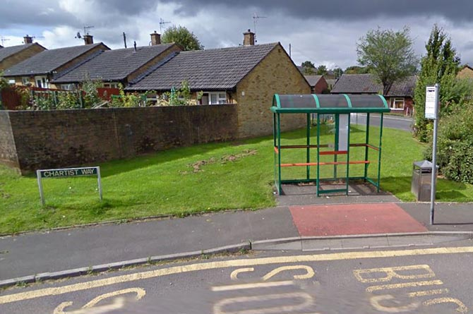 The bus shelter on Chartist Way, Blackwood