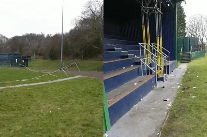 Damaged railings around the rugby field at Bargoed Park, left, and smashed glass strewn across the stand