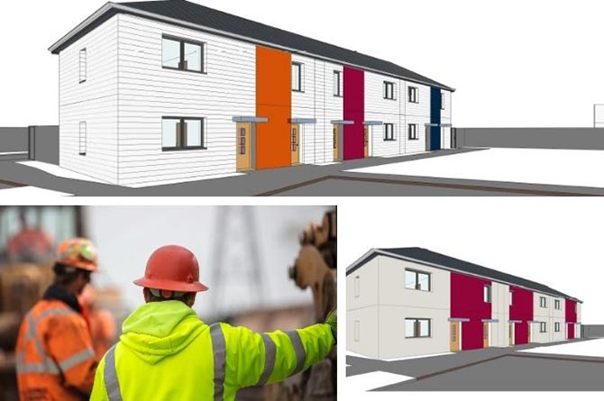 An artist's impression of the approved council-owned apartments to be built in Trecenydd and Trethomas