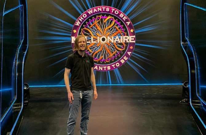 Kinetic Pixel's Connor Davies on the set of Who Wants To Be A Millionaire