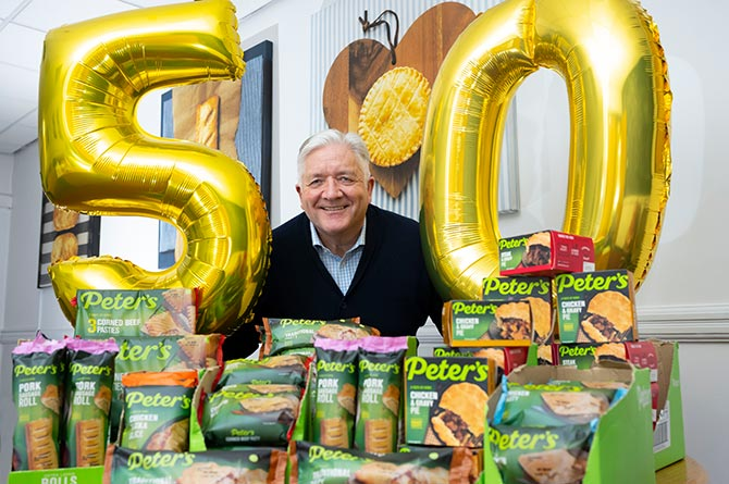 Peter's Managing Director Mike Grimwood shows off the company's new packaging design