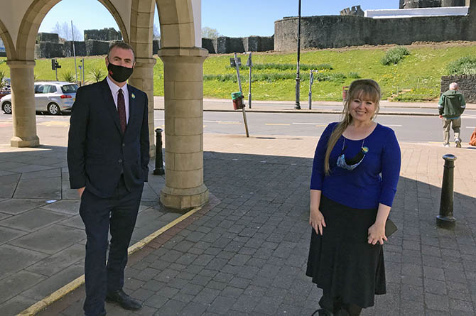Plaid Cymru leader Adam Price with candidate Delyth Jewell in Caerphilly town centre