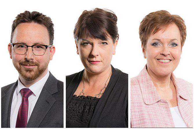 Hefin David, Rhianon Passmore and Dawn Bowden