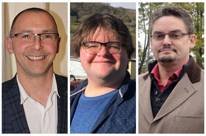 Liberal Democrat candidates Steve Aicheler, left, Oliver Townsend, centre, and Jez Becker