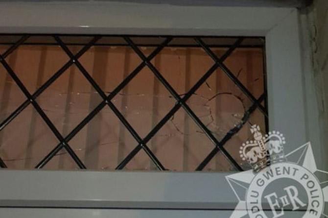 A damaged window in Newbridge