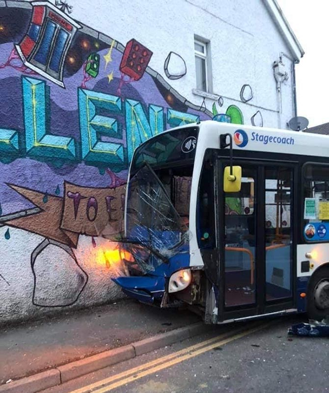 A bus crashed into a house on White Street