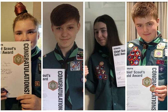 Caitlin Parsons, Isaac Furmage, Amelia Regel and Dylan Harwood of Abercarn Scouts