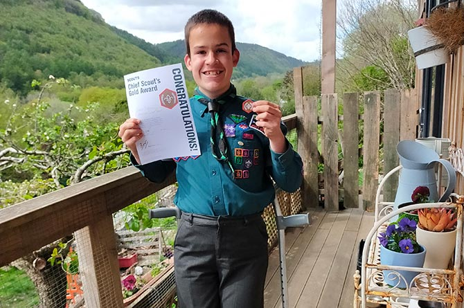 Owain Terrell has received his Chief Scout Gold Award