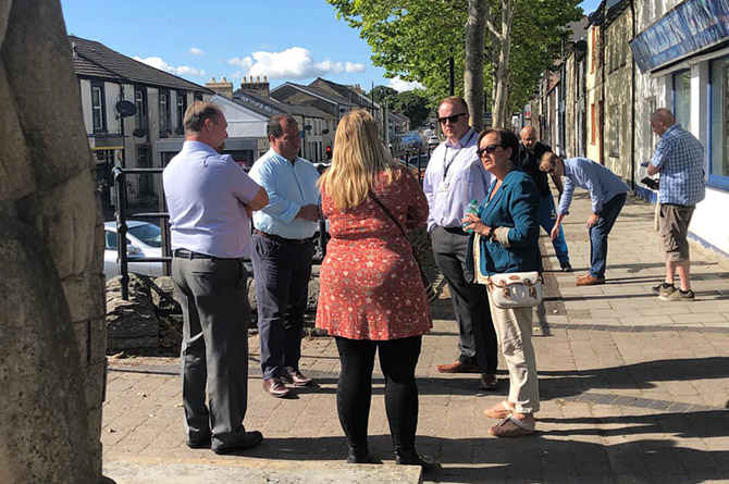 Gerald Jones MP, Dawn Bowden MS meeting with councillors on Rhymney High Street
