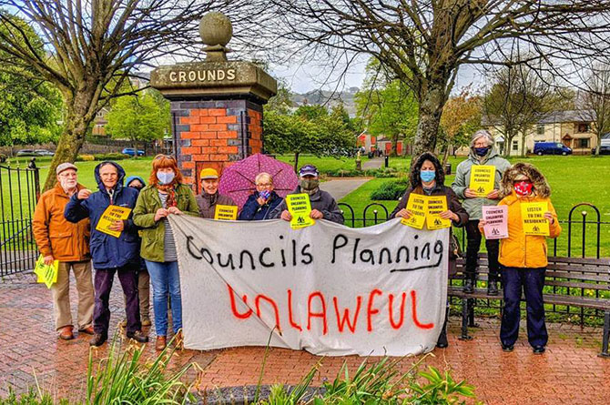 Members of the Lower Sirhowy Valley Residents Group protesting in Risca