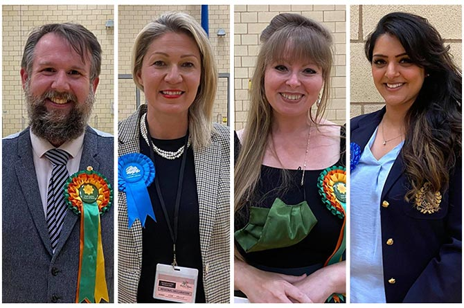 From left: Regional Senedd Members Peredur Owen Griffiths, Laura Anne Jones, Delyth Jewell and Natasha Asghar