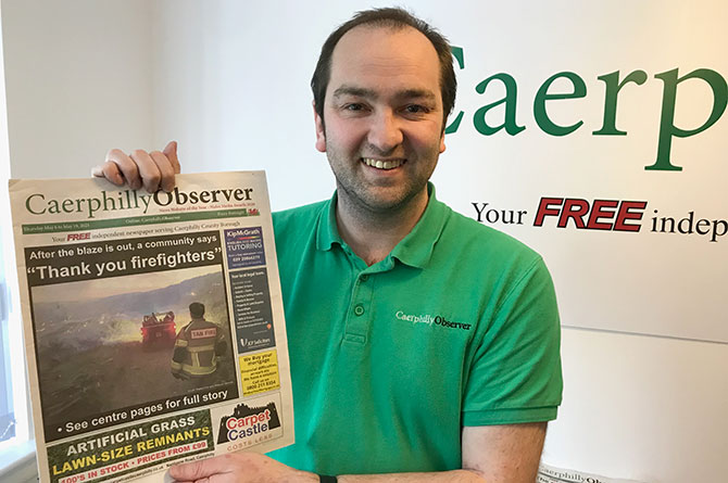 Editor and Publisher Richard Gurner with the 200th print edition of Caerphilly Observer