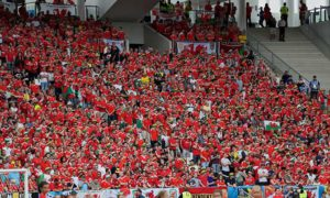 Fans at Wales' Euro 2016 opening game against Slovakia in Bordeaux, France