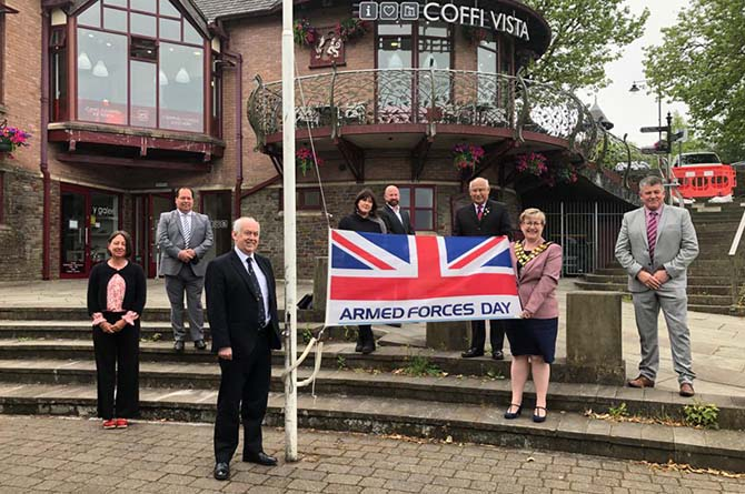 Armed Forces Day outside Coffi Vista, Caerphilly town centre