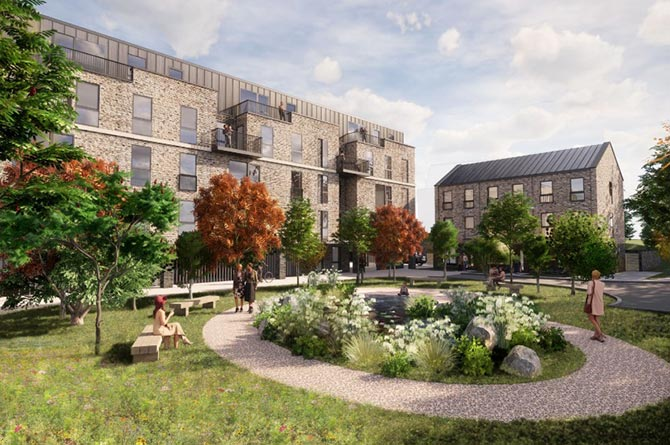 An artist's impression of the plans for 37 new homes on the site of the former Caerphilly Police Station
