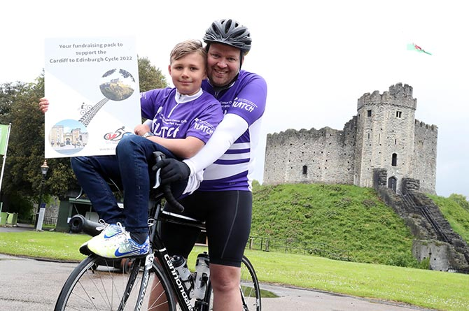 Matt Evans with his nine-year-old son Hywel
