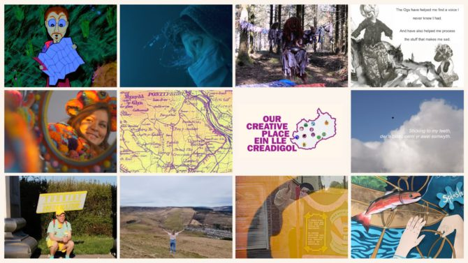 Screenshots of some of the video entries into the Our Creative Place digital story map