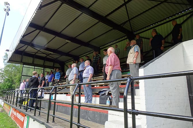 Risca Male Choir practicing at Cross Keys Rugby Club's Pandy Park grandstand