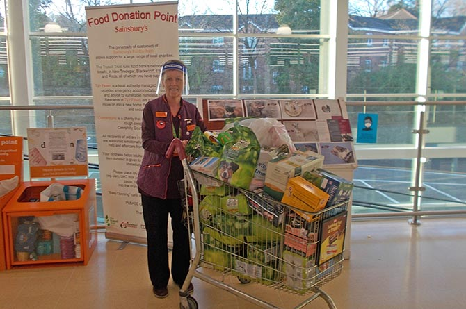 Staff at Sainsbury's Pontllanfraith with donations made by customers