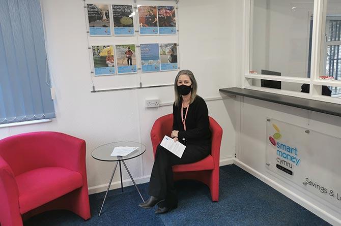 Customer Adviser Kerry Jenkins in the new reception area at Smart Money Cymru Blackwood