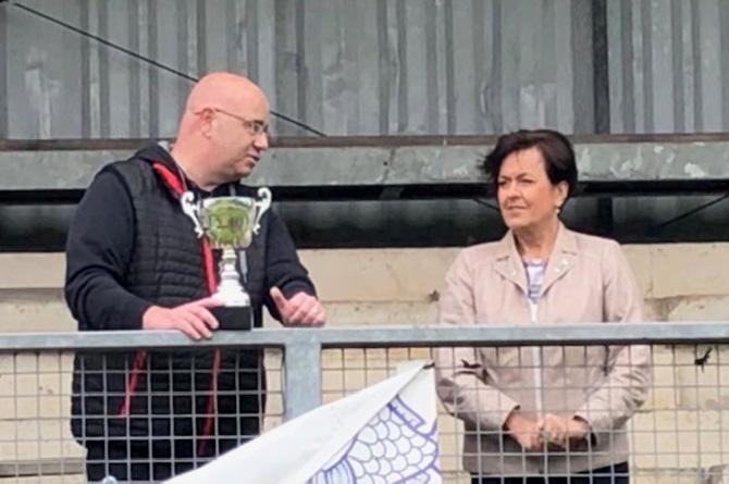 Merthyr Tydfil and Rhymney MS Dawn Bowden with Richard Pugh of Rhymney RFC