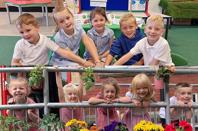 Pupils from Bryn Awel Primary school, top, and pupils from Machen Primary School