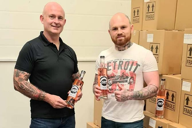 Entrepreneurs Ross Porter(left) and James Williams are serving up their own creation, Welsh strawberry gin