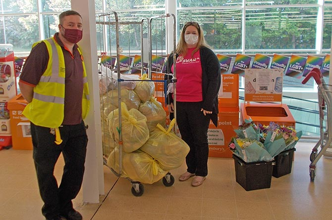 Claire Swan of SWAN UK collecting donated food from Sainsbury's in Pontllanfraith