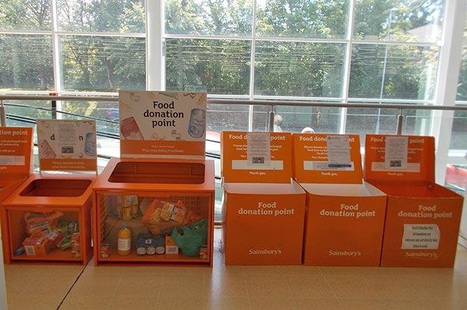 Food donation points at Sainsbury's Pontllanfraith