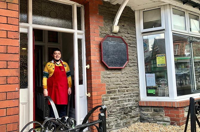 Sean Snaiham has started working at the Oasis Coffee Shop in Abertridwr