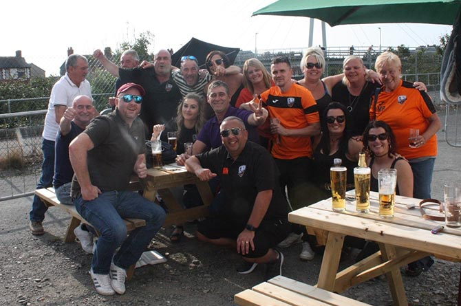 Aber Valley fans enjoying a day out in Aberystwyth following their Welsh Cup second round exit