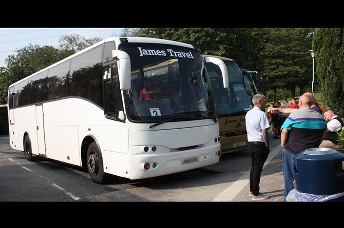 Aber Valley fans filled six coaches on the way to watch the team take on Aberystwyth in the Welsh Cup