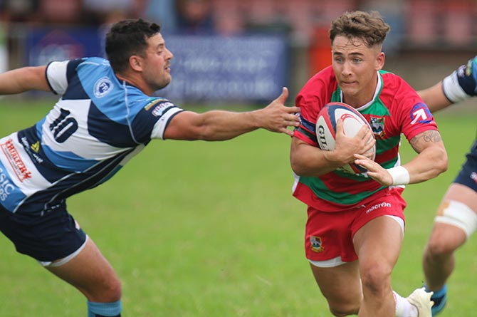 Bedwas' Matty Bancroft in action against Bargoed
