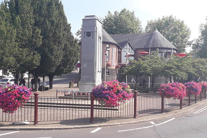 Flower displays at cenotaph in Caerphilly town centre