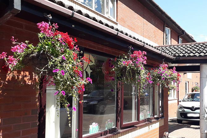 Hanging baskets at Church View Care Home