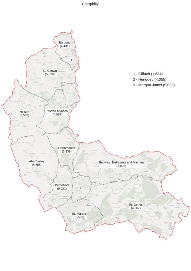 The current boundaries of the Caerphilly constituency