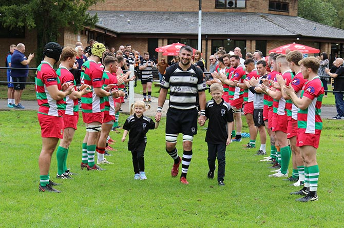 Cross Keys second-row Tom Lampard is given a guard of honour by Bedwas ahead of his 400th appearance for the Keys