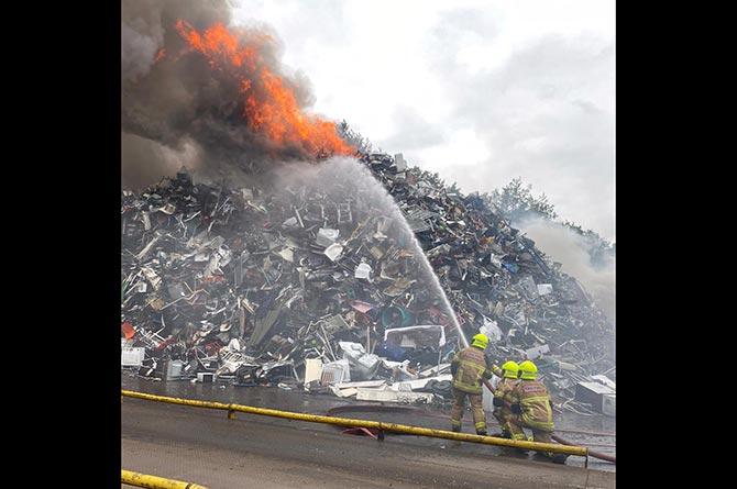 Firefighters tackling the blaze on Penallta Industrial Estate