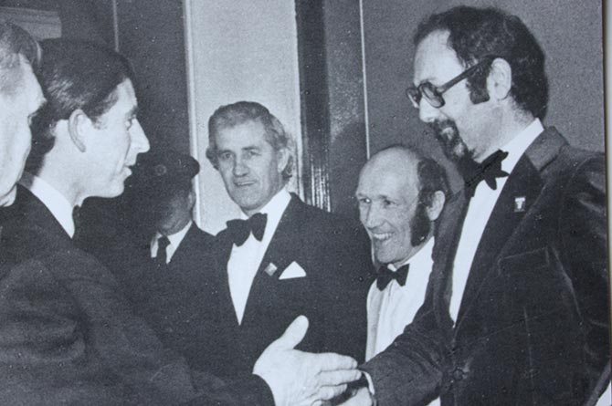 Conductor Geraint Evans meeting Prince Charles at the Royal Albert Hall in 1981