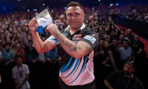 Gerwyn Price after winning the Hungarian Darts Trophy