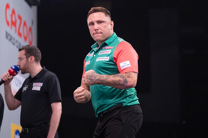 Gerwyn Price representing Wales in the World Cup of Darts