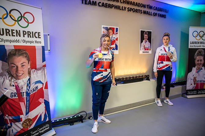 Olympians Lauren Price, left, and Lauren Williams have been inducted into a Sports Wall of Fame in Ystrad Mynach
