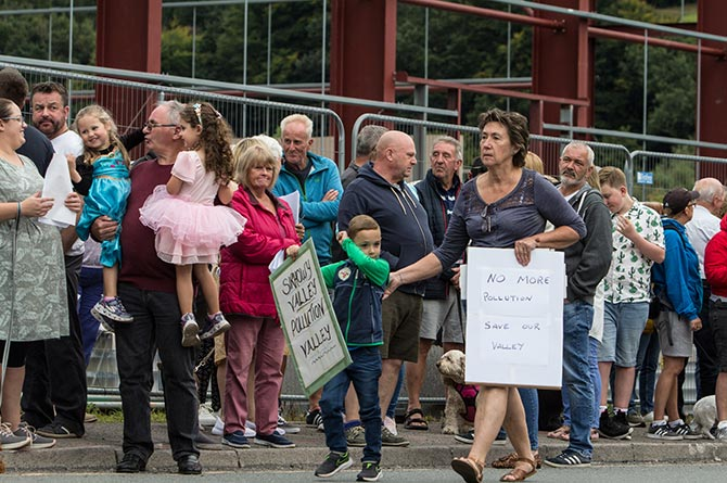 Residents protesting against the waste plant in Cwmfelinfach